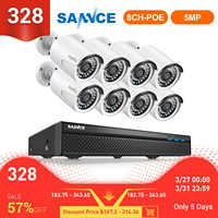 SANNCE 8CH 5MP FHD POE Video Security System H.264+ 5MP NVR With 4X 8X Outdoor Waterproof IP Camera Built in Microphone CCTV Kit