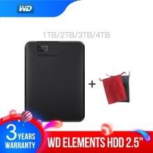 ويسترن ديجيتال WD Elements قرص صلب محمول 1 تيرا بايت 2 تيرا بايت 4 تيرا بايت خارجي hdd 2.5 بوصة USB 3.0 قرص صلب أصلي للكمبيوتر المحمول