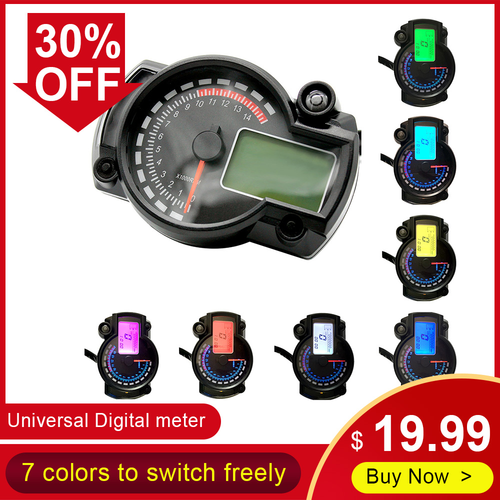 אוניברסלי 7 צבעים אופנוע מכשיר דיגיטלי מד מהירות מד מרחק מתכוונן פנל תצוגת LCD מד עבור RX2N 4 צילינדרים