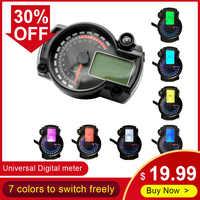 Universal 7 Colors Motorcycle Digital Instrument Speedometer Odometer Adjustable Panel Display LCD Gauge for RX2N 4 cylinders