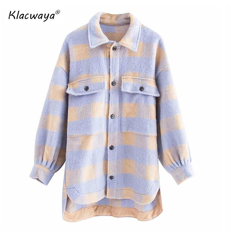 Klacwaya Womens Coats And Jackets Winter Leisure Purple Plaid Loose Woolen Overshirt Female Oversize Outwear Coat Chic Tops