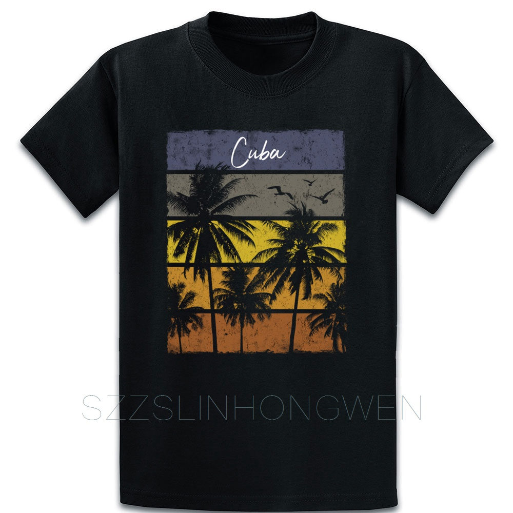 Retro Cuba Beach Print Vacation Souvenir T Shirt Printing Crazy Vintage Formal Summer Round Collar Tee Shirt Authentic Shirt image