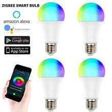 5/6/8/10 pces zigbee 3.0 tuya inteligente lâmpada led lâmpada lâmpada e27 240v rgb + w + c funciona com smartthings alexa echo hub google casa 10w
