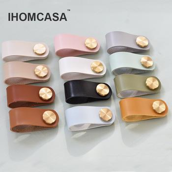 IHOMCASA12 kolory Nordic meble uchwyt szuflady mosiężna szafa szafka kuchenna uchwyt uchwyt do drzwiczek ekologiczna sztuczna skóra tanie i dobre opinie Rohs Maszyny do obróbki drewna Mosiądz CN (pochodzenie) Single hole Meble uchwyt i pokrętła Nowoczesne Nordic Modern