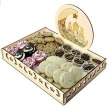 Eid Mubarak Ramadan Food Wooden Tray Muslim Islam Home Party Fruit Candy Storage Display Holder Kitchen Gadget