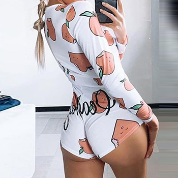 women long sleeve bodysuit stretch leotard bodycon jumpsuit romper sexy dot bodysuits top blouse chiffon solid bodysuits elegant Cartoon Print Jumpsuit Women Button V Bodysuit Sexy Long Sleeve Stretch Leotard Crop Rompers Female Romper Pajamas Bodycon