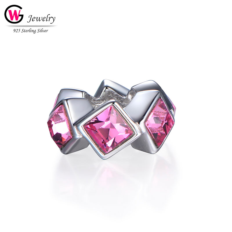 Joyas de plata 925 Real para mujer, circonita rosa, encanto de circonita, cuentas de plata geométricas, aptas para la pulsera de Pandora, colgantes de mujer 2019