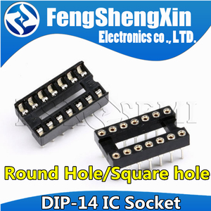 10pcs DIP-14 Round Hole Square hole 14 Pins 2.54MM DIP DIP14 IC Sockets Adaptor Solder Type IC Connector