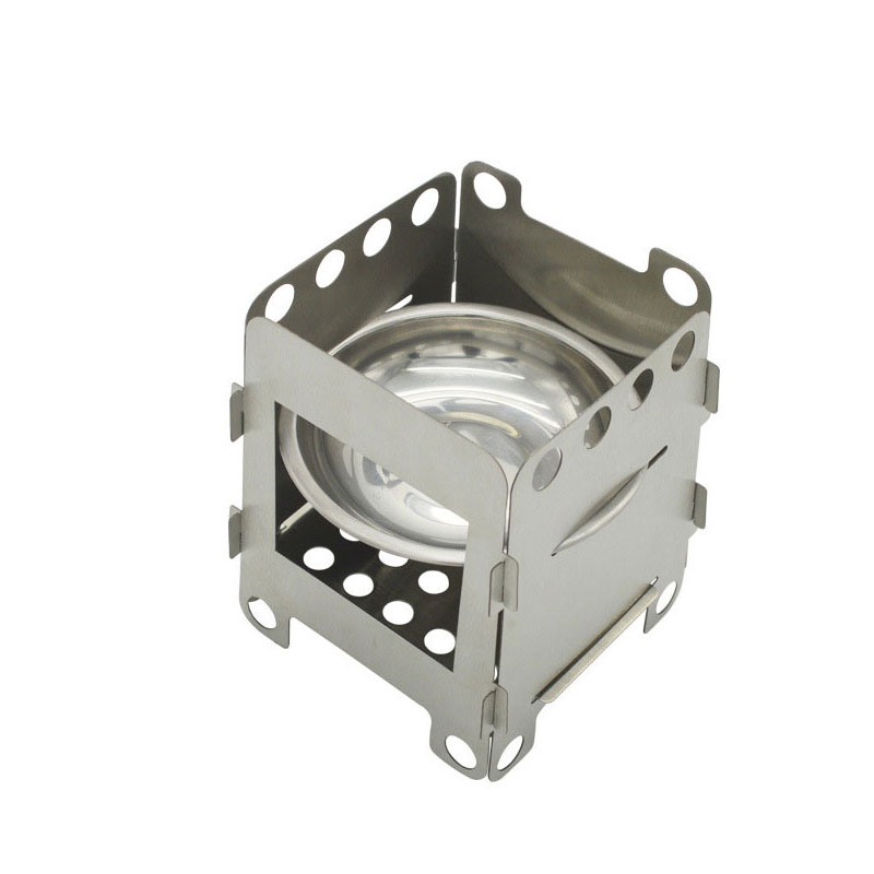 Folding Wood Stove Alcohol Stove Stand Bracket Portable Outdoor Picnic Cook BBQ Burners Titanium Stainless Steel Camping Stove