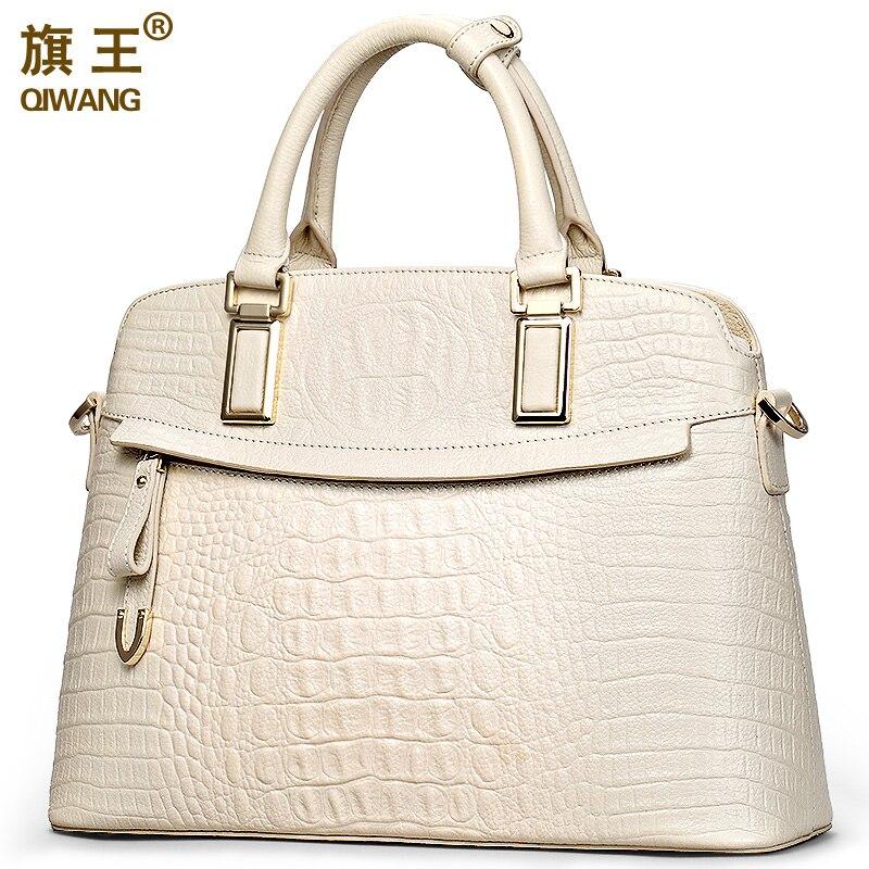 Qiwang Crocodile Ladies Hand Bags 2019 Elegant Top Handle Bag Women Designer Brand Handbag 100% Genuine Leather Female Black Bag-in Top-Handle Bags from Luggage & Bags    1