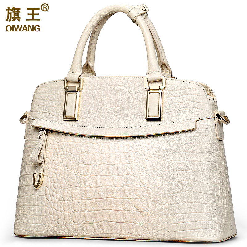 Qiwang Crocodile Ladies Hand Bags 2019 Elegant Top-handle Bag Women Handbag Designer Brand 100% Genuine Leather Female Handbag
