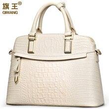 Qiwang timsah bayanlar el çantaları 2020 zarif üst kolu çanta kadın çanta tasarımcısı marka 100% hakiki deri bayan çanta