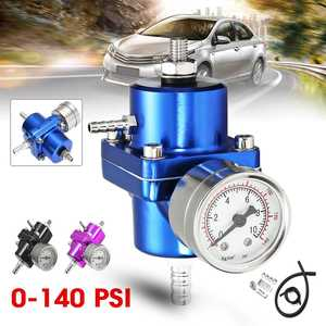 3 Color Universal Aluminum Adjustable Fuel Pressure Regulator With 0-140 Psi Oil Gauge Hose Kit High Performance