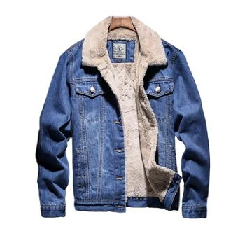 Idopy Winter Warm Denim Jacket Wool Lined Blue Classic Fleeced Lining Thick Thermal Jeans Jacket and Coat S-4XL