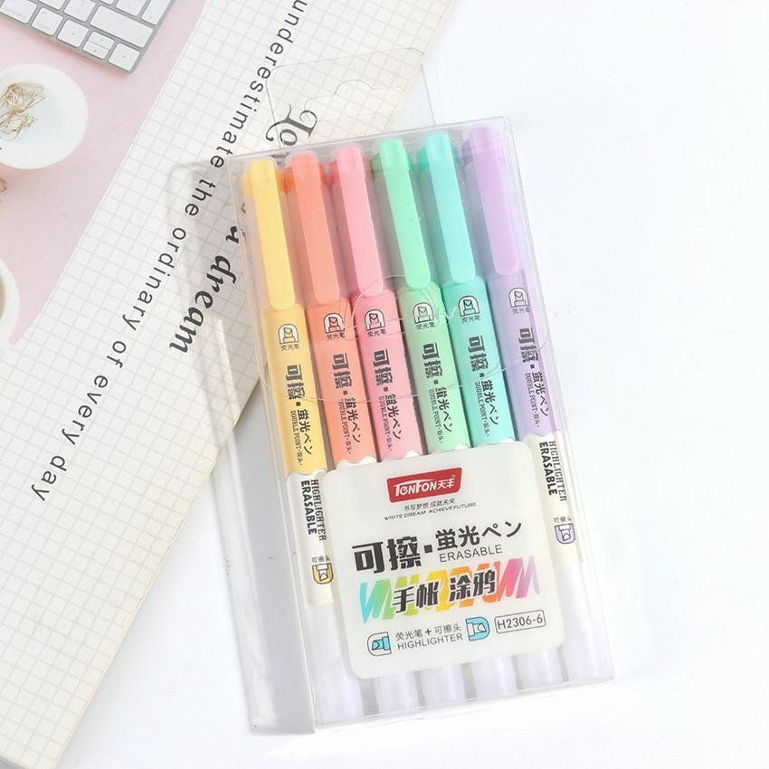 Double Head Erasable Highlighter Pen Markers Fluorescent Pen Highlighters Pen Drawing Art Supplies 6PCS/Set