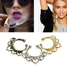 Fashion Fake Septum Nose Rings Faux Piercing Nose Hoop Nose Studs Body Jewelry(China)