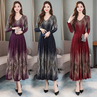 Autumn and Winter Dress Women New Fashion Long sleeved Temperament Slim Print Dresses Woman Party Night Red Purple Navy Blue