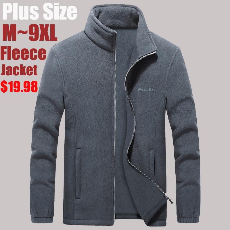 Plus Size 7XL 8XL 9XL Mens Softshell Fleece Jackets Male Warm Sweatshirt Thermal Coats Windbreaker Sportswear Brand Clothing