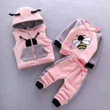2020 Winter 3pcs Kids Thickening Hooded Vest Sweater Pant Sport Suits Baby Boys And Girls Warm Cartoon Outfit Children Clothing
