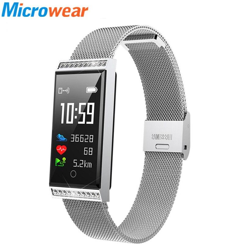 Bracelet en acier Fitness Ttracker fille femme montres IP68 étanche moniteur de fréquence cardiaque surveillance du sommeil Sport montre intelligente Relogio