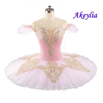 Professional Tutu Ballet Pink gold Girls Classical Ballet Performance Tutu Pancake Competition Sugar Plum Fairy for Adult adult pink performance tutu ballet pancake costumes nutracker ballet tutu fairy professional ballet tutu pink bt9044d