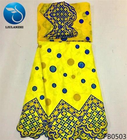 Tecido de Algodão Tecido com Contas com 2 Liulanzhi Bazin Africano Tissu Riche Getzner Brode Metros Tule Rendas Novo Pb05