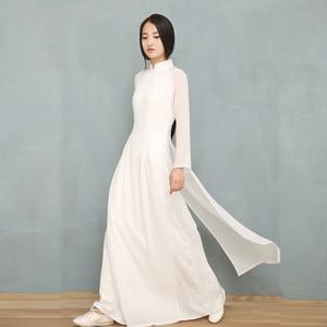 Image 2 - 2020 wietnam Ao Dai biała jednolita, szyfonowa perspektywa sukienka dla kobiety chiński Cheongsams pełna rękaw kobieta orientalna sukienka