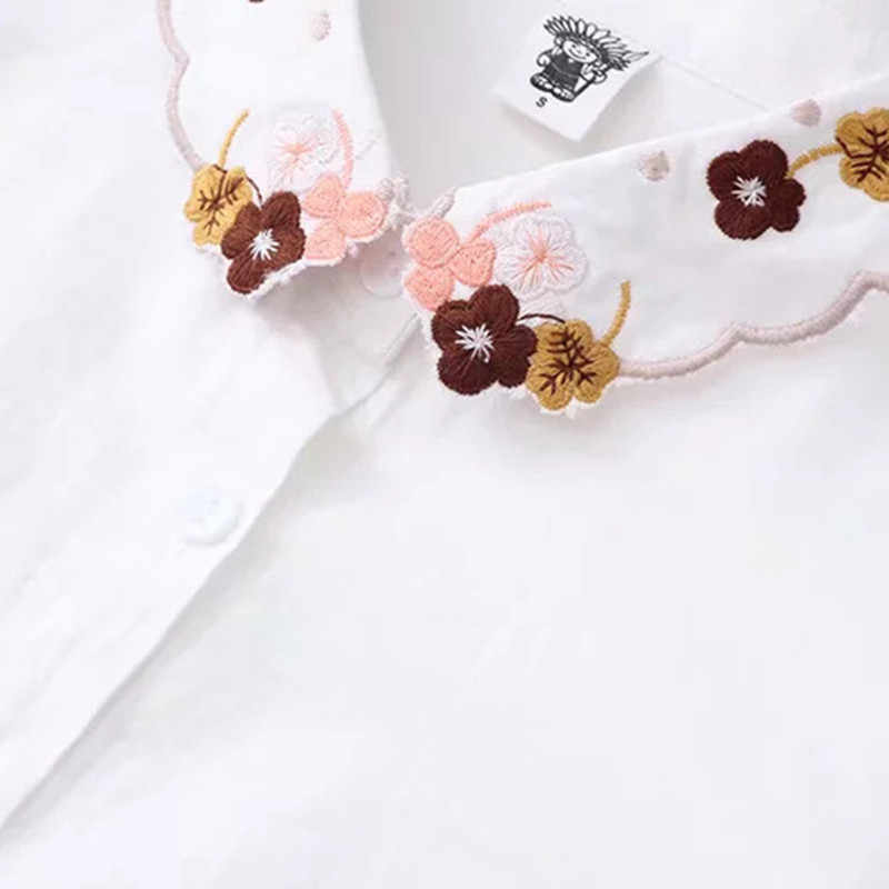 Bông Tai Kẹp Thêu Hoa Phối Với ĐẦM CỔ BẺ Nhật Bản Mori Girl Dây Chuyền Nữ Áo Sơ Mi Thun Cao Cấp