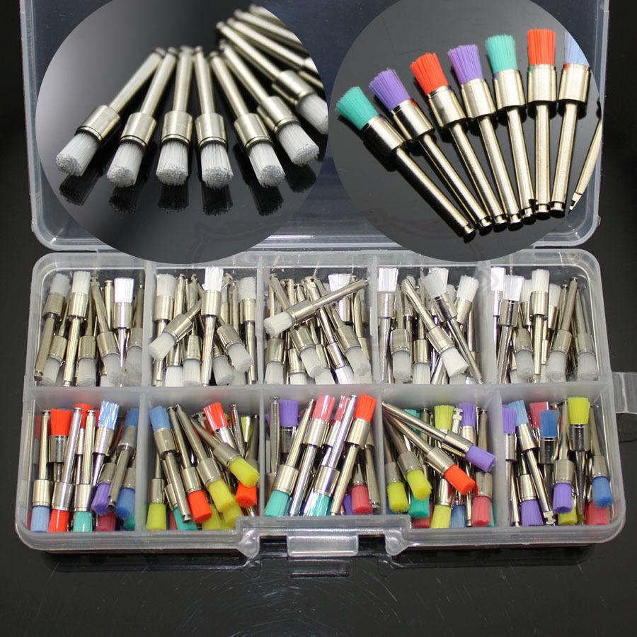 200 Pcs Dental Polishing Polisher Brush Latch Prophy White + Colored Nylon Flat