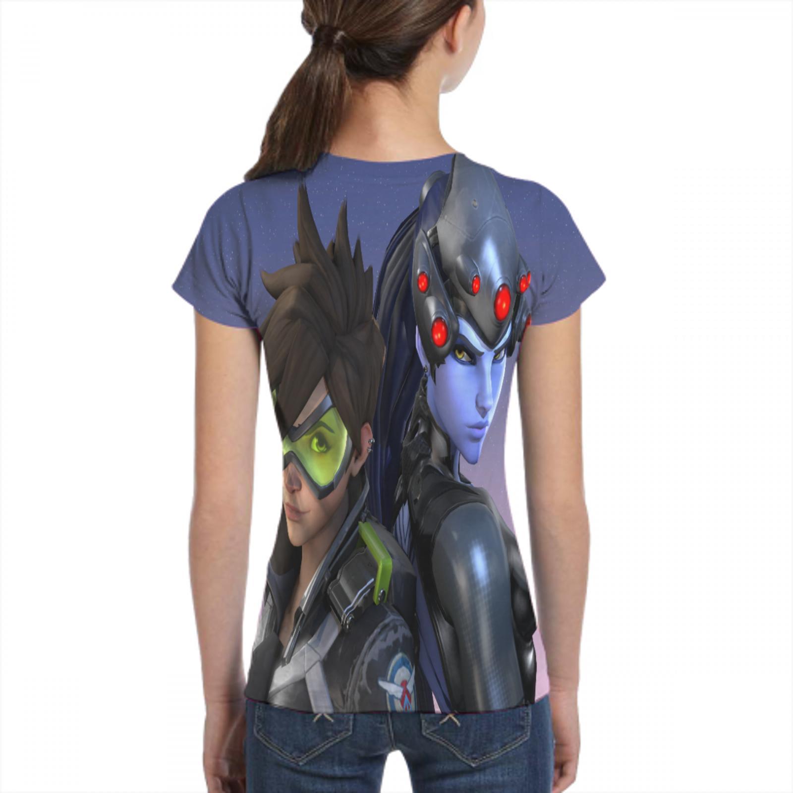 printer overwatch top t shirt gothic female/male black t shirt overwatch socks female/male t shirt 3