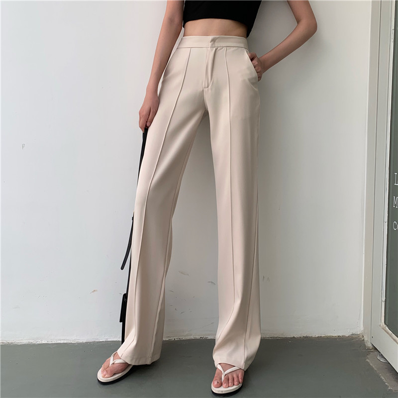 Long Pants For Women High Waist Summer Fashion Elegant Casual Office Lady Straight Trouser