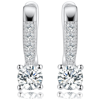 Dyson 925 Sterling Silver Earrings For Women Cystal Zircon Classic Clip Earrings Love Anniversary Gifts Delicate Fine Jewelry Earrings Gem Color: White Metal Color: Rhodium Plated