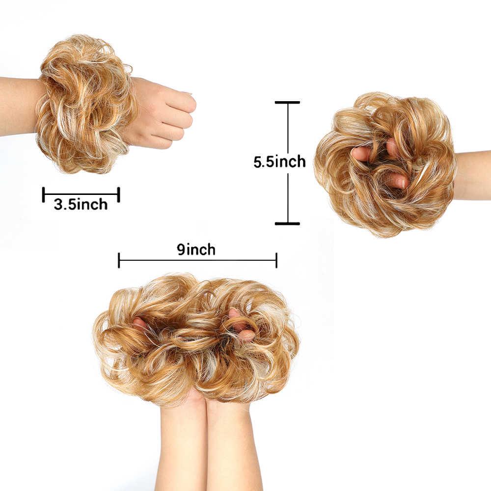 Chaotisch Haar Brötchen Für Frauen haarteil Extensions Synthetische perücke Ring Wrap Chignon Schwarz Braun Hohe Temperatur Faser