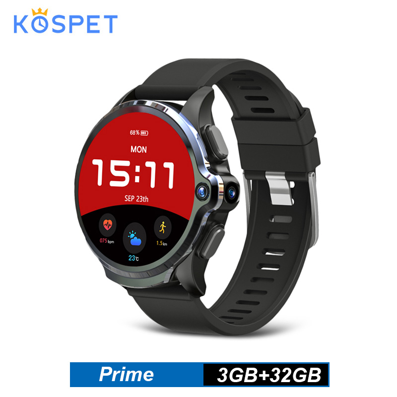 KOSPET Prime <font><b>4G</b></font> <font><b>SmartWatch</b></font> 1.6 Inch Face ID Unlock 3GB 32GB Dual Camera GPS/GLONASS Android Watch Phone 1260mAh Battery For Men image