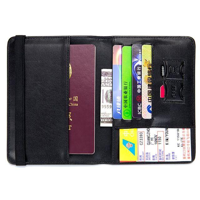 Protecteur de étui pour cartes de crédit de voyage de support de passeport de blocage de RFID en cuir véritable A69C