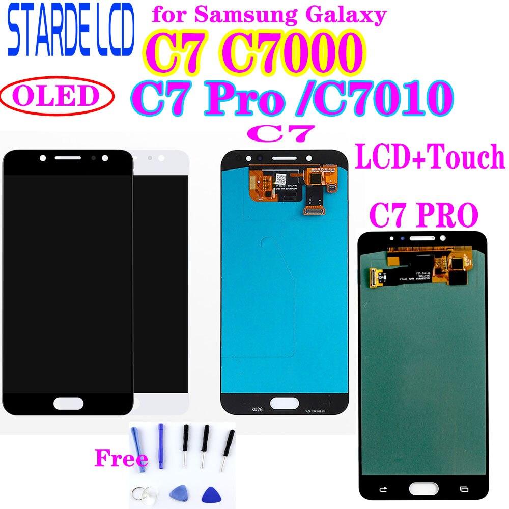 OLED ekran LCD do Samsung Galaxy C7 Pro C7010 wyświetlacz LCD ekran dotykowy Digitizer zgromadzenie C7 C7000 LCD