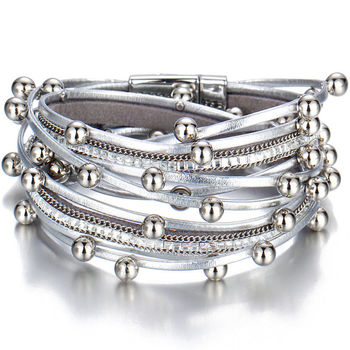 Women's Gold Leather Bracelet Bracelets Jewelry New Arrivals Women Jewelry Metal Color: BJCS715