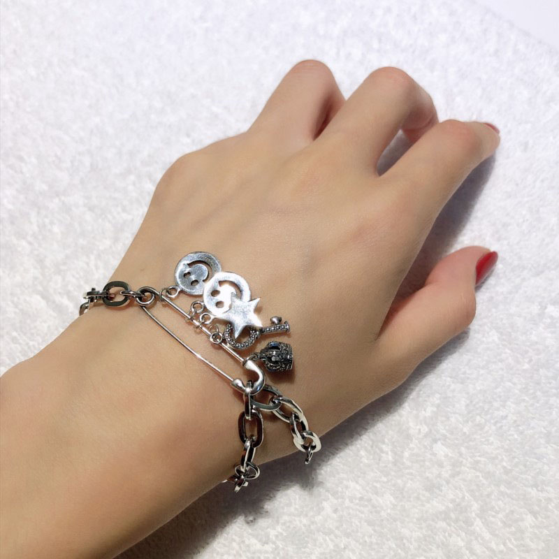 Real 925 Sterling Silver Smiley Face Star Key Bracelets Vintage Pin Crown Hip Hop Bracelets for Women Fashionable Hand Jewelry