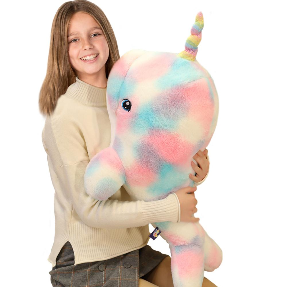 Giant Rainbow Narwhal Plush Stuffed Animals, 35.4 Inch Adorable Soft Sea <font><b>Whale</b></font> <font><b>Plushies</b></font> Pillow, Kids Children Living Ocean Gifts image