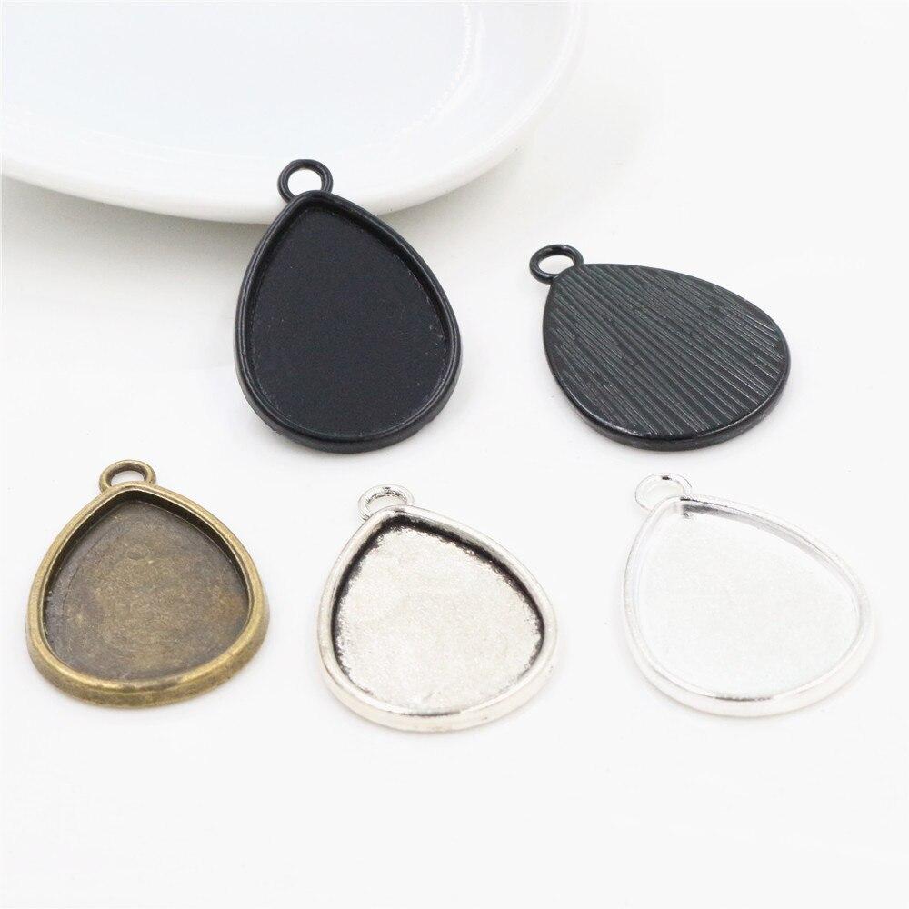 With Beautiful Galaxy Glass Cabochons,10 Styles-b3002 Finished Drop Charm Cameo Cabochon Base Setting Pendant-18\u00d725mm