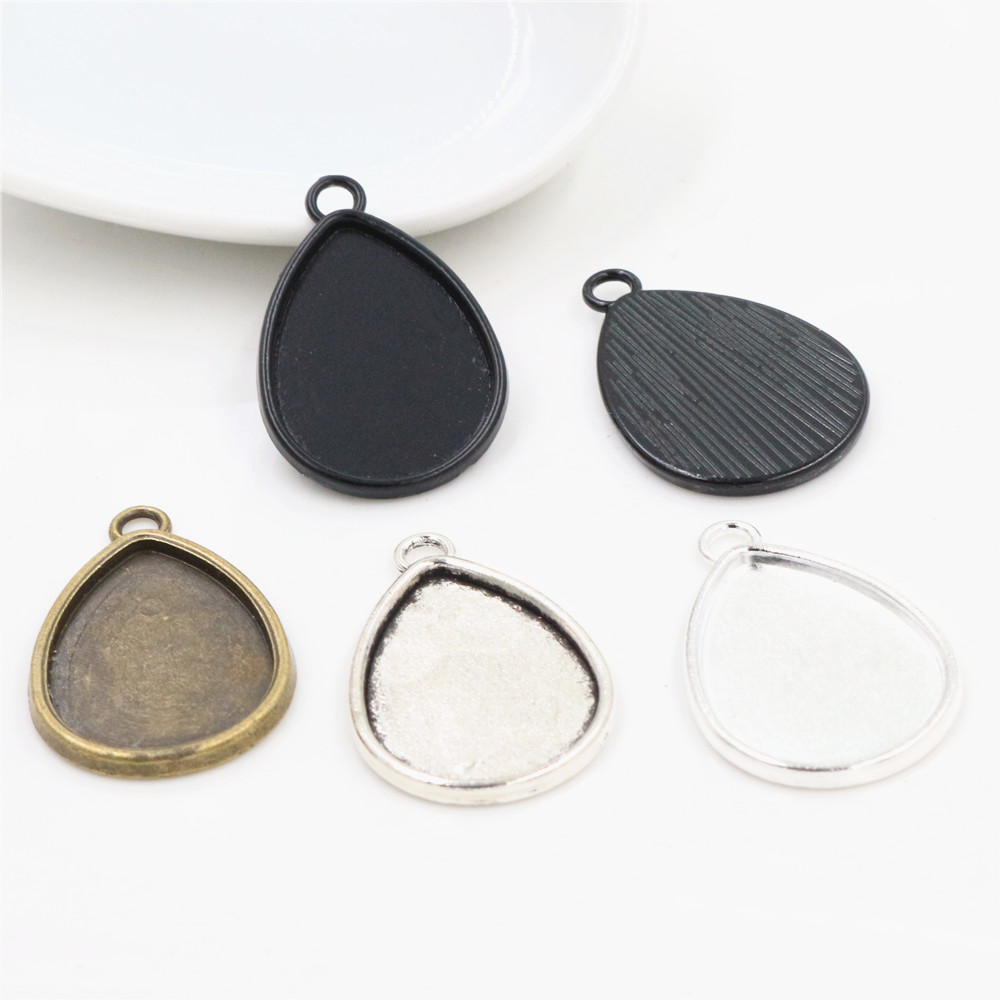 4pcs 18x25mm Inner Size 4 Colors Drop Style Cameo Cabochon Base Setting Charms Pendant Necklace Findings
