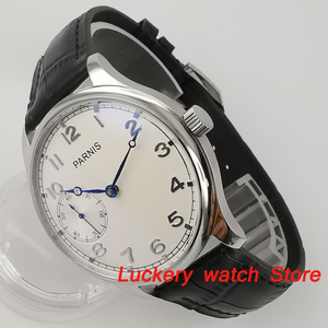 Image 5 - Parnis 44mm Manual mechanical watch white dial 17 jewels 6497 hand winding movement Casual Men watches