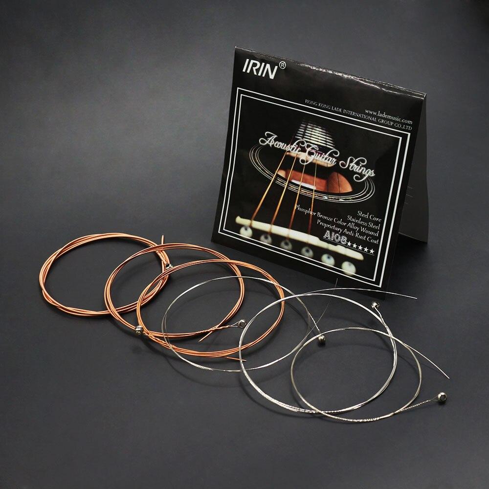 IRIN 6pcs/set Acoustic Flok Guitar String 009-045 Inch Steel Core Phosphor Bronze Alloy With Proprietary Anti-Rust Coat A108