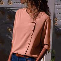 Chiffon Bluse Beiläufigen Frauen Tops und Blusen Langarm-shirt Büro Skew Kragen Top Weibliche Blusen Blusas Mujer De Moda 2019