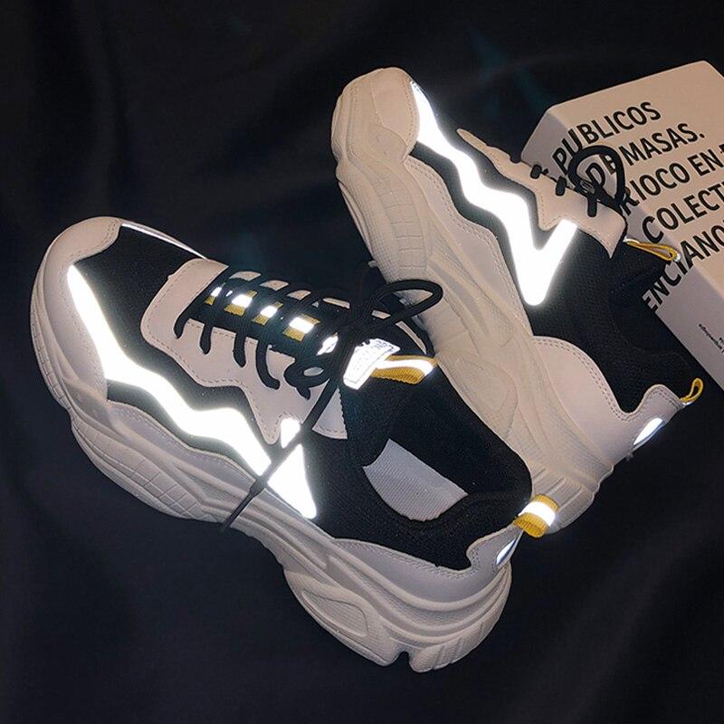 Tênis reflexivos mulher moda vulcanizada sapatos mulher designer plataforma chunky tênis senhoras formadores feminino pai sapatos