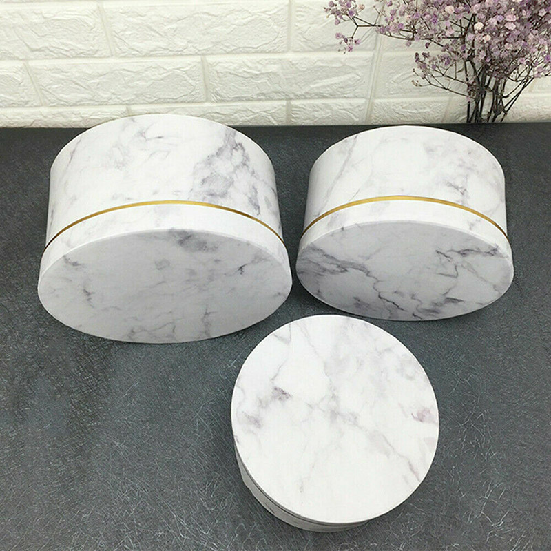 3 Pcs Florist Flowers Gifts Box Marble Pattern Round Packing Case For Wedding Party PAK55