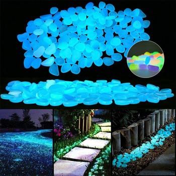 50 100x świecące w ciemności kamienie kamyki Rock akwarium blask kamienie dla chodników ścieżka ogrodowa Patio ogródek świecące kamienie tanie i dobre opinie CN (pochodzenie) Glow In The Dark Stones Żywica