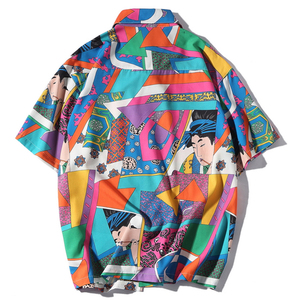 Image 2 - Aelfric Eden Short Sleeve Shirt Men Hip Hop Japanese Streetwear Silk Ukiyoe Casual Shirt Man Summer Fashion Hawaiian Shirts HE01