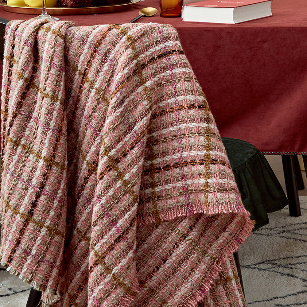 Wool throw blanket travel picnic bedding blanket modern - 5