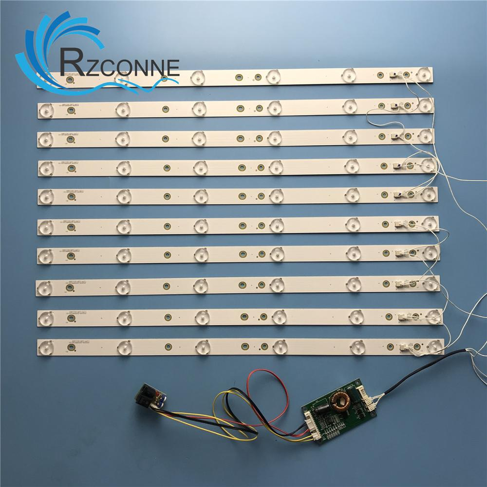 10pcs 453mm LED Backlight 6 Lamps Strip Kit Board W/ Optical Lens Fliter For  40 42 43 46 Inch  LCD LED TV 12V Input Update CCFL
